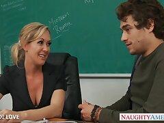 Chicly built MILF Brandi Love fucks say no to handsome student