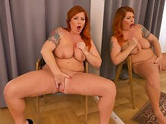 Solo redhead uses her fingers down stimulate that fat cunt