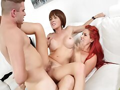 Hardcore Threesome Relative to Hot Milf Redhead & Their way Step Wet-nurse 4k