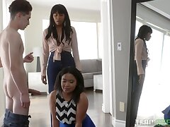 Historic threesome sex with two ebony stepsisters Jenna Foxx and Loni Legend