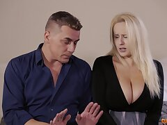 Newly hired blonde maid goes out of trouble with the boss man