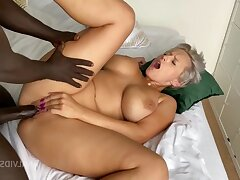 Blonde MILF cougar in homemade interracial - Creampie cumshot