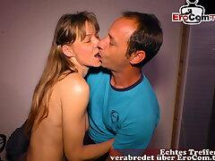 German skinny regular housewife tries porn