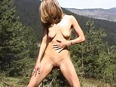 Fucks herself with pine whisk broom