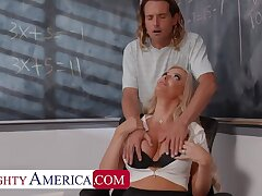 Naughty America: Big tit professor, Linzee Ryder, fucks her aide to relieve stress on PornHD