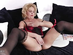 Blonde mature mom grinding on the couch