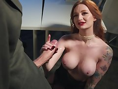 Redhead gets hard fucked by masked robber with big cock
