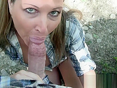 Hot blonde wife sucks stranger for help with quad