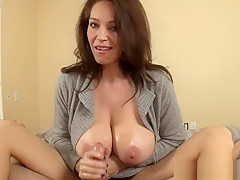 Bigtit mature jerking cock in CFNM action