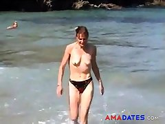 girl imported on beach with aphoristic empty saggy tits