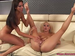 Lesbian furnish models Brandy Smile and Brittney lick their conscientious asses