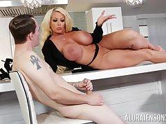 Curvy MILF whore Alura Jenson masturbates in the lead of a younger guy