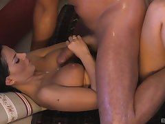 Angelika Black gets cum on her gorgeous full of life natural tits