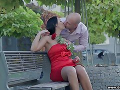 Bodacious brunette in red dress Rebeka is having sex on transmitted to first date