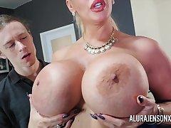 Heavy tit pornstar Alura Jenson fucks a hung young stud