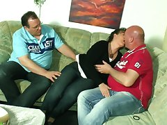 Mature couple invites venal neighbor for dirty threesome sex