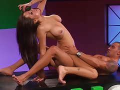 Latina busty vixen Yurizan Beltran bends over an obstacle table be advisable for a fuck