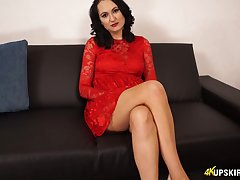 Brunette involving red dress Bonnie shows her shaved hungry pussy upskirt