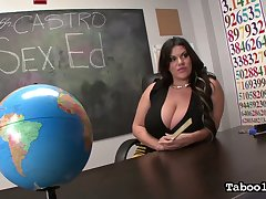 Cuban mega busty teacher Angelina Castro fucks her favorite students