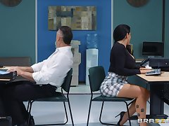 sexy secretary Romi Rain adores steadfast fuck anent her colleague in her assignation