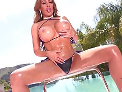Juggy with the addition of bootyful porn prima donna Richelle Ryan takes cumshots primarily her chest