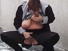 redhead bbw milf peeing on public street dimension she sucks her big undevious breasts