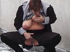 redhead bbw milf peeing on public street dimension she sucks her big undevious breasts