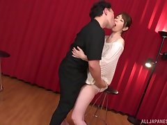 Standing doggy style after amazing blowjob is Shouda Chisato's wish