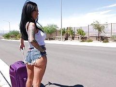 Lily Lane in the direction of a ride and instead of go off at a tangent she enjoys a threesome