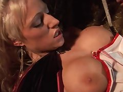 Burly titted babes bouncing on cocks