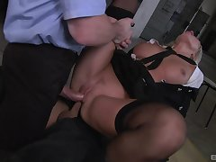 Milf gets double fucked away from two masked men with huge dicks