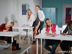 Pervert teacher Amber Jade gets fucked by horny student