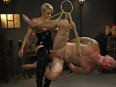 Dominant woman ass fucks male slave close to brutal BDSM