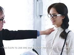 Older tutor is ready forth fuck the shit out of naughty Russian coed gal