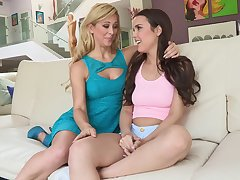 Lucky stud gets fucked hardcore by twosome adorable babes