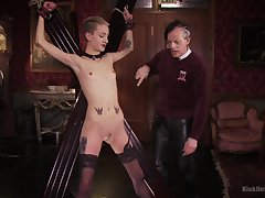 Skinny blonde plays submissive for the brush old master