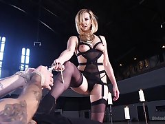 Ballpark female domination on the obedient male slave