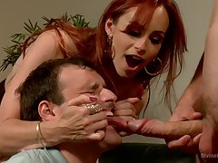 Inner redhead shares slave's dick with her hubby in a rough trio