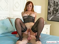 Sexy MILF in corset Dani Jensen keeps on riding strong sloppy cock