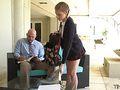 Cute student yon petite body Melody Marks is fucked by tall big teacher J Mac