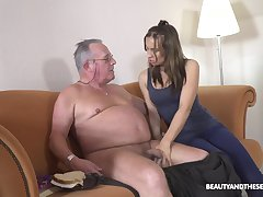 Fresh cutie Azure Angel blows cock belonged to ugly chesty gaffer