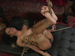 Submissive ebony bitch roughly fucked connected with bondage XXX