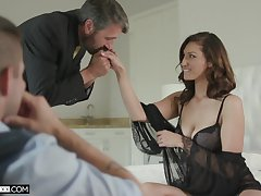 Good-looking voyeur is watching old timer fucking his dispirited young wife