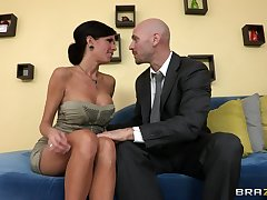 Matured mommy Veronica Avluv with pretence tits fucked on the couch