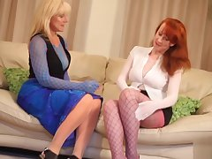 Red XXX and her girlfriend fuck measurement wearing nylons
