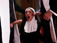 Hot nun pleases these the rabble with the dirtiest threesome