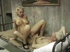 Beauty blonde fucks with old man
