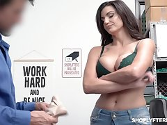 Bosomy shoplifting milf Becky Bandini gets punished right on make an issue of table