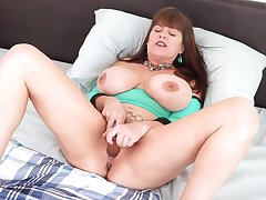Alone prexy housewife Rebecca Exalt gets rid of panties wide tease her wet pussy