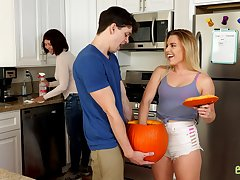 Dick in pumpkin prank on stepsister Aubrey Sinclair